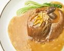 【ディナー・牡丹】季節の前菜五種、XVIN名物 土鍋フカヒレ姿煮濃厚スープ仕立て、車海老のチリソース等