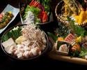 【番屋特製もつ鍋コース】豪華新鮮鮮魚6点盛り、蒸し鶏とレタスのシーザーサラダ、出汁巻き玉子海苔餡かけ(全10品)2時間飲み放題付