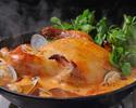 【名物 丸鶏とクレソンのフリフリ鍋コース!! ¥4300】☆2H 飲み放題付☆アサリと鶏出汁、生姜を効かせたスープにたっぷりクレソンとトマト。ジューシーな鶏の旨味を召し上がれ~♪