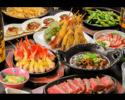 プチ贅沢!熟成ステーキと大海老が入った鉄板・串揚げコース【全7品】