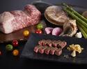 "【SHIKOTSU】 2 kinds of seafood and Hokkaido beef ""SAROMA KUROUSHI"" sirloin 100 g  course"