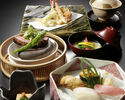 "[Online reservation only] Beef, Sushi, Tempura Kaiseki ""Luxury Sanmai"" with one drink to choose"