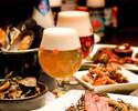 【乾杯1ドリンク付】牛フィレとフォアグラ、オマール海老とムール貝のブイヤベースと、季節野菜のサラダ、自家製シャルキトリー前菜 -季節のベルギービールとマリアージュフードのコース
