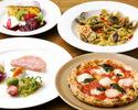 <平日ランチ>前菜、ピッツア&パスタ、メインの贅沢ランチコース2,700円