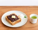 Butter Toast with Red bean paste and whipped cream pairing with green tea