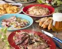 【トリプルメイン】焼き皿ステーキ3種&シェフ特製の逸品『プライム牛プラン』世界の樽生5種/飲み放題付