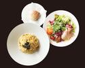 【TAKEOUT】スパゲッティ カルボナーラトリュフ サラダ、パンセット