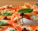 【menu Casuale 全5品】前菜盛り合わせ+窯焼きピッツァ2種+本格パスタ+メインディッシュ+ドルチェ&カフェ 気軽に楽しむディナーコース ※1drink付き