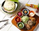 【2時間飲み放題付き】オリジナルタコスプレートが楽しめるEstándar course♪塩麹マリネの柔らかカルーアポークをメインに、人気のメキシカンパワーサラダ含む全6品