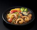 【テイクアウト】海老とベーコンの和風パスタ 夏野菜添え