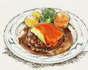 チェダーチーズ・デミグラスソース&トマトのWソースハンバーグ