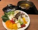 冬期限定【ホールテーブル席ランチ】新鮮なお野菜をしゃぶしゃぶで食べ放題いただけるコースです。お好みのステーキと共にご提供いたします