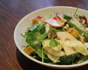Pearl barley and poached chicken salad with endive, pumpkin and yuzu dressing.