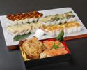【テイクアウト】骨付き鶏モモ肉の唐揚げと押し寿司(穴子)