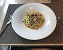 ①炭焼きカツオ・ミニトマト・枝豆のペペロンチーノ スパゲッティ