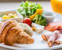 [BREAKFAST] サラダ&クロワッサンのプレートと炊き立てご飯の和食セット