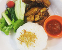 [Take out] Ayam Goreng Lala bread [fried chicken and raw vegetables) and rice