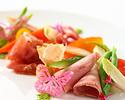 【SEASON LUNCH】スパ付!季節野菜の前菜とメインが選べる全4品プリフィックスランチ(土日祝)
