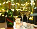【プレミアムシャンパンディナーコース全5品】メインはA5ランク黒毛和牛+シャンパン&赤白ワインフリーフロー