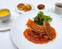 Petit déjeuner menu 朝食メニューB 焼きたてのパイ生地と魚介類 トマトソース