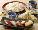 冷やしうどんとにぎり寿司ディナー