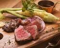【厳選肉のグリルと2時間飲み放題】◆6000yen◆オープンエアで楽しむ門崎熟成肉アンガス牛ハラミ食べ比べと人気のハーフ&ハーフピザコース
