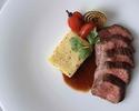 牛肉のステーキ ローマ風ニョッキ添え + パン