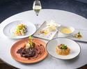 ディナー【前菜&スープ&お魚とお肉のダブルメイン&デザート】全5品+乾杯シャンパン付き
