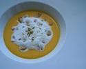 南瓜のポタージュ ひよこ豆とスペルト小麦入り豆乳カプチーノ